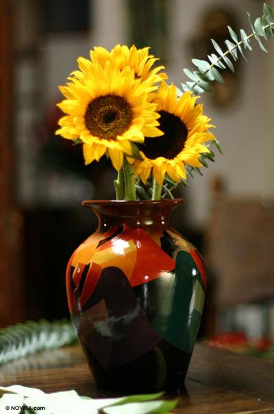 Hand Painted Cuzco Ceramic Vase