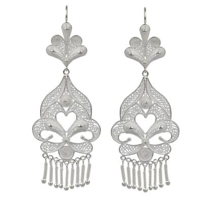 Artisan Crafted Fine Silver Filigree Earrings