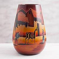 Ceramic vase, 'The Streets of Cuzco' - Handcrafted Cuzco Ceramic Vase