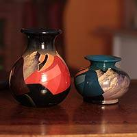 Ceramic vases, 'Rest Time' (pair) - Ceramic vases (Pair)