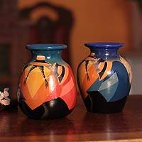 Ceramic vases, 'Time Out' (pair) - Ceramic vases (Pair)