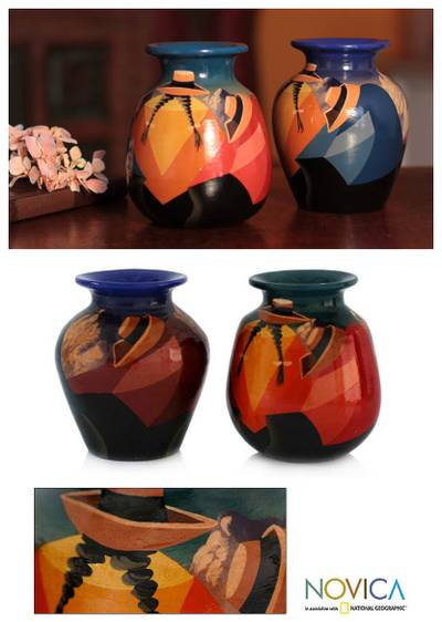 Ceramic vases, Time Out (pair)