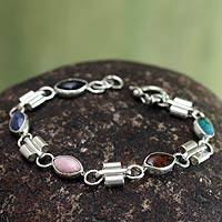 Gemstone beaded bracelet, 'Rainbow Scarabs' - Hand Made Gemstone and Silver Bracelet