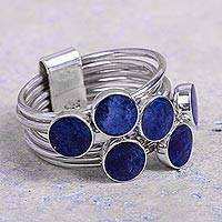 Sodalite multi-band ring, 'Circular Complements' - Unique Sterling Silver and Sodalite Ring
