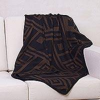 Alpaca blend throw blanket, 'Shadow Labyrinths' (Peru)