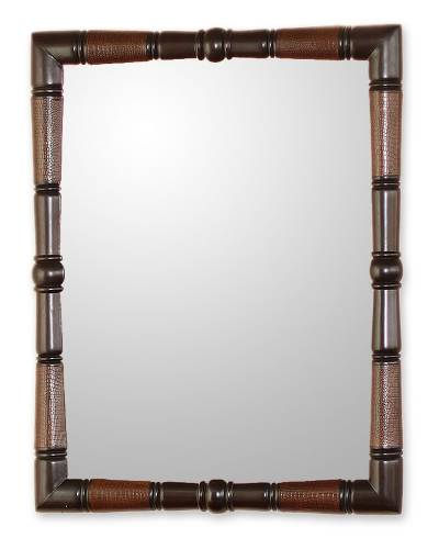 Contemporary Artisan Hand Tooled Leather and Wood Mirror