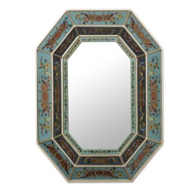 Elegant Handcrafted Reverse Painted Glass Mirror