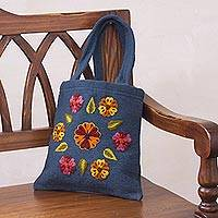 Wool handbag, 'Marigold Morning' - Wool handbag