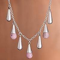 Rhodochrosite pendant necklace, 'Rose Dew' - Rhodochrosite pendant necklace
