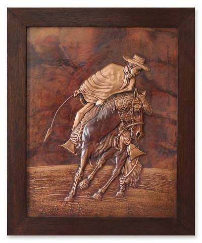 Copper panel, 'The Groom' - Copper Gaucho Wall Panel Original Handmade in Peru