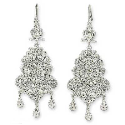 Bridal Fine Silver Filigree Earrings