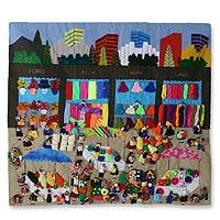 Applique wall hanging, 'Busy City Market' - Handcrafted Folk Art Cotton Wall Hanging