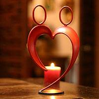 Steel statuette, 'Alliance' - Romantic Red Heart Steel Sculpture