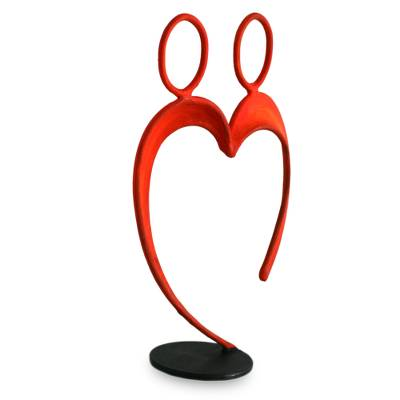 Romantic Red Relationship and Wedding Sculpture of Steel