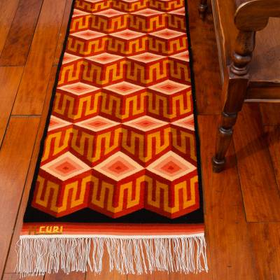 Wool rug, 'Cubic Illusion' (2x5.5) - Wool rug (2x5.5)
