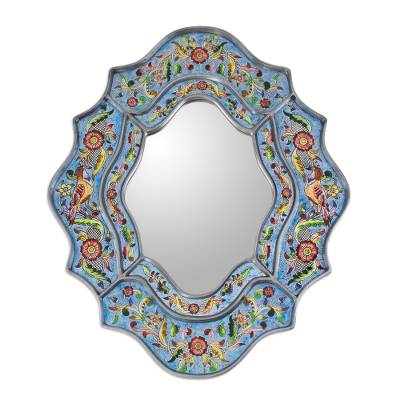 Artisan-Made Reverse-Painted Glass Wall Mirror
