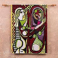 Wool tapestry, 'Woman in the Mirror' - Handcrafted Modern Cubist Tapestry from Peru