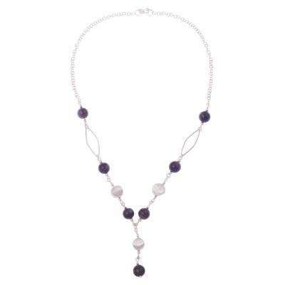 Peruvian Amethyst and Silver Y Necklace