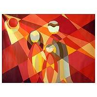'Andean Family at Dawn' (2007) - Peruvian Cubist Painting
