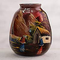 Ceramic vase, 'The Cottage' - Hand Painted Cuzco Ceramic Vase