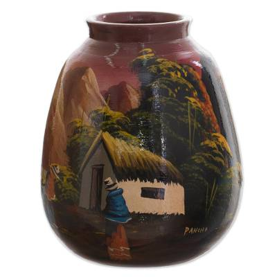 Hand Painted Cuzco Ceramic Vase