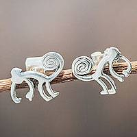 Silver button earrings, 'Playful Nazca Monkey' - Handmade Sterling Silver Button Earrings
