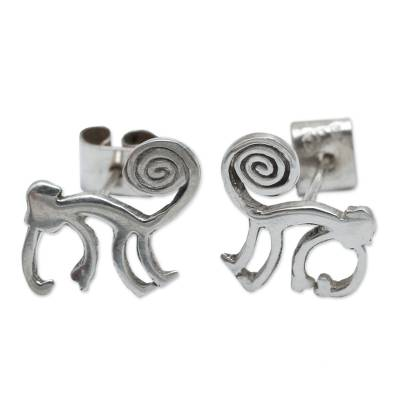 Handmade Sterling Silver Button Earrings