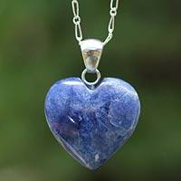 Sodalite choker, 'Petal Heart' - Sterling and Sodalite Handcrafted Necklace