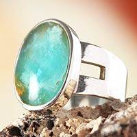 Opal cocktail ring, 'Inspiration' - Handmade Green Andean Opal Ring Silver Jewelry