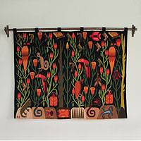 Wool wall hanging, 'Peruvian Jungle'