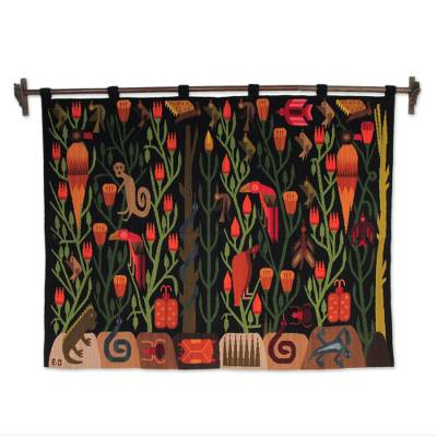 Wool wall hanging, 'Peruvian Jungle' - Artisan Hand Loomed Vibrant Wall Hanging Tapestry