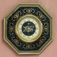 Reverse painted glass clock, 'Royal Ebony' - Octagonal Reverse Painted Glass Wall Clock