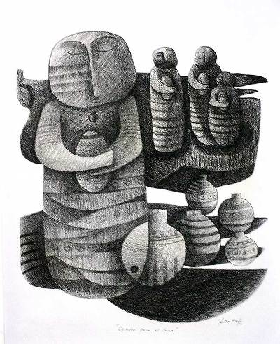 'Offering for the Inca' - Cubist Charcoal Fine Art
