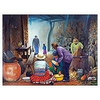 'Countryside Kitchen' - Peruvian Realist Painting