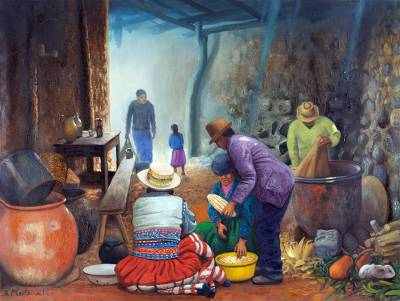 'Countryside Kitchen' - Peruvian Realist Painting