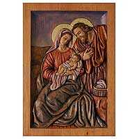 Cedar relief panel, 'Holy Family of Nazareth' - Religious Baby Jesus Carved Wood Relief Panel