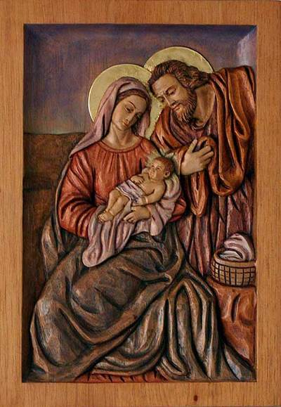 Unicef uk market religious baby jesus carved wood relief