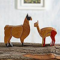 Cedar and mahogany sculptures Llamas pair Peru