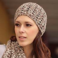 100% alpaca scarf and hat set, 'Coffee Fans' - Hand Crafted Alpaca Wool Patterned Scarf and Hat Winter Set