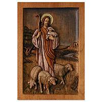 Cedar relief panel, 'Jesus, the Good Shepherd' - Carved Cedar Wood Sculpture Christian Wall Art from Peru