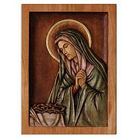 Cedar relief panel, 'Mary, Virgin of Sorrows' - Cedar relief panel