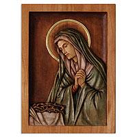 Cedar relief panel Mary Virgin of Sorrows Peru