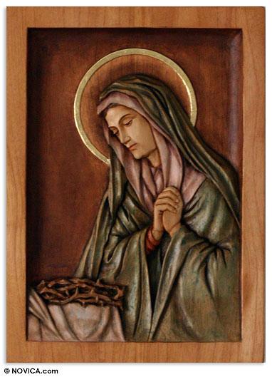 Cedar relief panel mary virgin of sorrows novica