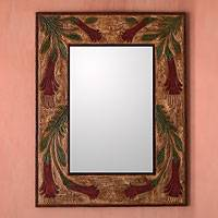 Leather mirror, 'Peruvian Cantuta' (large) - Leather mirror (Large)