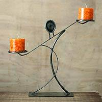Steel candleholder, 'Sublime Woman' - Abstract Steel Candle Pillar