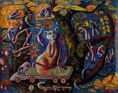 'The Ozone Cat' (2006) - Surrealist Painting from Peru