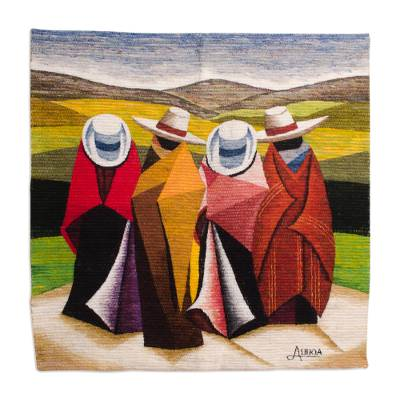 Andean Wool Tapestry 3 X 3 Ft Hand Loomed in Peru