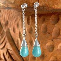 Amazonite dangle earrings, 'Serene Sky' - Sterling Silver and Amazonite Earrings