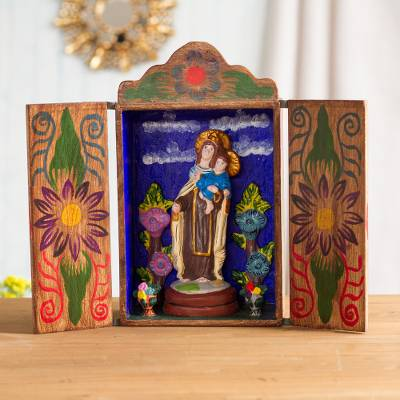 Wood retablo, 'Our Lady of Mount Carmel' - Hand Made Religious Wood Sculpture from Peru