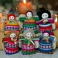 Cotton ornaments, 'Andean Angels of Happiness' (set of 6) - Set of 6 Cotton Andean Folk Art Angel Ornaments